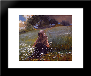Girl And Daisies: Modern Black Framed Art Print by Winslow Homer