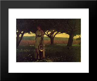 Girl In The Orchard: Modern Black Framed Art Print by Winslow Homer
