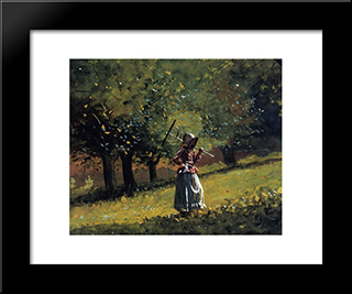 Girl With A Hay Rake: Modern Black Framed Art Print by Winslow Homer