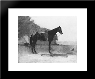 Saddle Horse In Farm Yard: Modern Black Framed Art Print by Winslow Homer