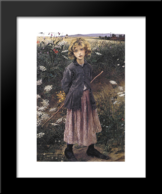 Young Girl: Modern Black Framed Art Print by Jules Bastien Lepage