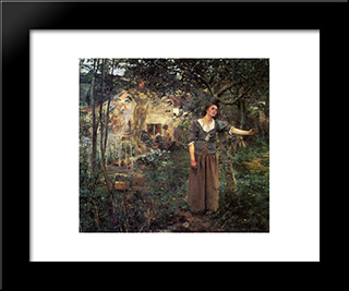 Joan Of Arc: Modern Black Framed Art Print by Jules Bastien Lepage