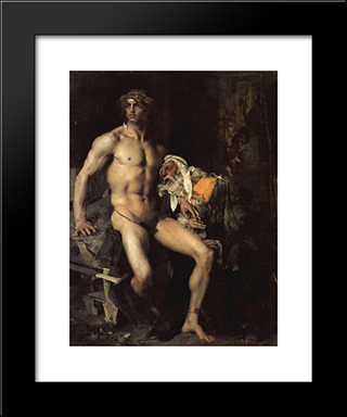 Achilles And Priam: Modern Black Framed Art Print by Jules Bastien Lepage
