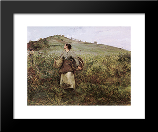 At Harvest Time: Modern Black Framed Art Print by Jules Bastien Lepage