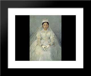 La Communiante: Modern Black Framed Art Print by Jules Bastien Lepage