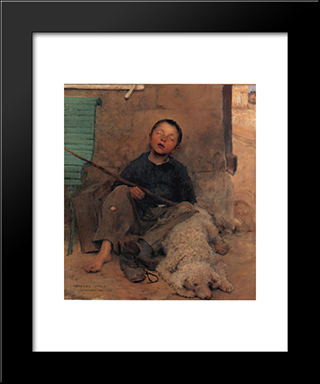 The Blind Beggar: Modern Black Framed Art Print by Jules Bastien Lepage