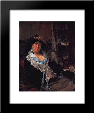 Lady: Modern Black Framed Art Print by Jules Bastien Lepage