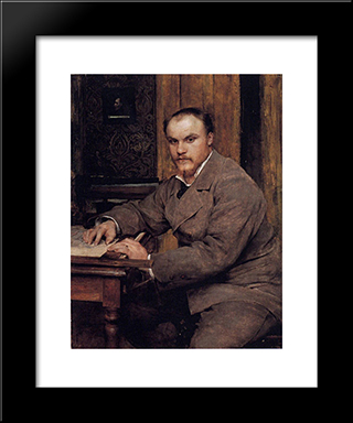 Portrait: Modern Black Framed Art Print by Jules Bastien Lepage
