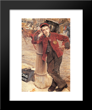 The London Bootblack: Modern Black Framed Art Print by Jules Bastien Lepage