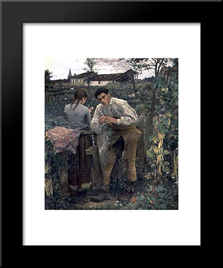 Rural Love: Modern Black Framed Art Print by Jules Bastien Lepage