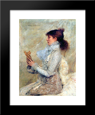 Portrait Of Sarah Bernhardt: Modern Black Framed Art Print by Jules Bastien Lepage