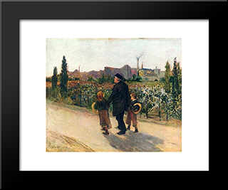 All Souls' Day: Modern Black Framed Art Print by Jules Bastien Lepage