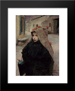 Going To School: Modern Black Framed Art Print by Jules Bastien Lepage