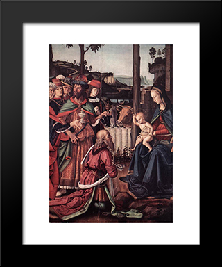 Adoration Of The Kings (Epiphany) [Detail: 1]: Modern Black Framed Art Print by Pietro Perugino