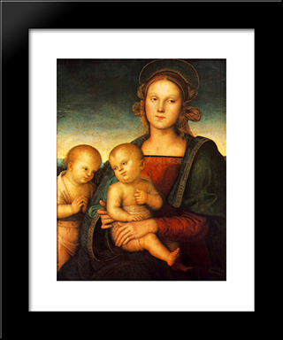 Madonna With Child And Little St John: Modern Black Framed Art Print by Pietro Perugino