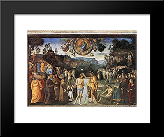 Baptism Of Christ: Modern Black Framed Art Print by Pietro Perugino
