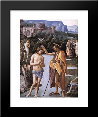 Baptism Of Christ [Detail: 1]: Modern Black Framed Art Print by Pietro Perugino
