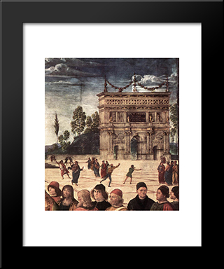 Baptism Of Christ [Detail: 3]: Modern Black Framed Art Print by Pietro Perugino