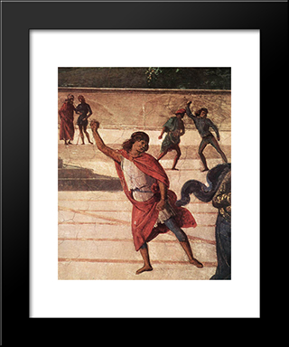 Baptism Of Christ [Detail: 5]: Modern Black Framed Art Print by Pietro Perugino
