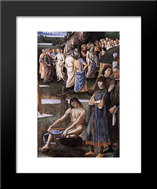 Baptism Of Christ [Detail: 6]: Modern Black Framed Art Print by Pietro Perugino
