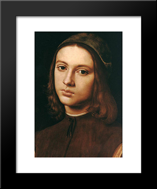 Portrait Of A Young Man (Detail): Modern Black Framed Art Print by Pietro Perugino