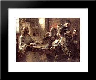 Supper At Emmaus: Modern Black Framed Art Print by Leon Augustin L'Hermitte
