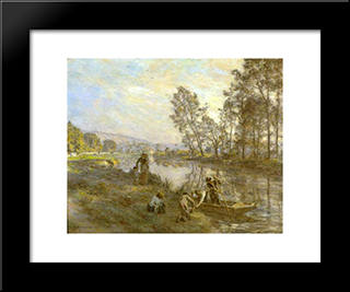 Figures By A Country Stream: Modern Black Framed Art Print by Leon Augustin L'Hermitte