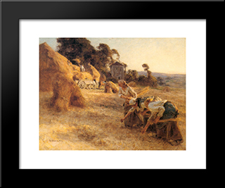 Haymakers: Modern Black Framed Art Print by Leon Augustin L'Hermitte