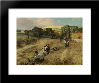 A Rest From The Harvest: Modern Black Framed Art Print by Leon Augustin L'Hermitte