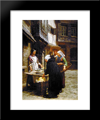 The Butter Market: Modern Black Framed Art Print by Leon Augustin L'Hermitte