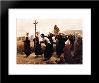 Le Pardon De PloumanacH: Custom Black Wood Framed Art Print by Leon Augustin L'Hermitte