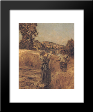 The Reapers' Child: Modern Black Framed Art Print by Leon Augustin L'Hermitte