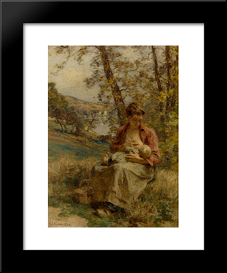The Young Lovers: Modern Black Framed Art Print by Leon Augustin L'Hermitte