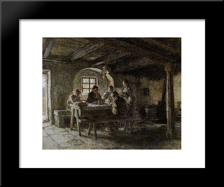 The Meal: Modern Black Framed Art Print by Leon Augustin L'Hermitte