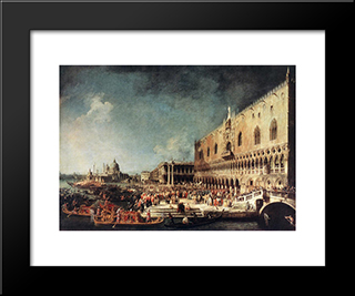 Arrival Of The French Ambassador In Venice: Modern Black Framed Art Print by Canaletto