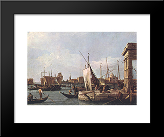 La Punta Della Dogana: Modern Black Framed Art Print by Canaletto