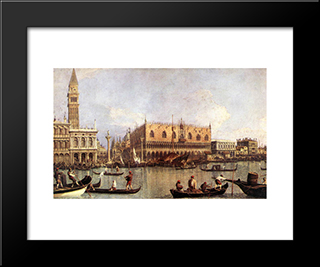 Palazzo Ducale And The Piazza Di San Marco: Modern Black Framed Art Print by Canaletto