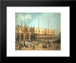 Piazza San Marco ' Looking Southeast: Modern Black Framed Art Print by Canaletto