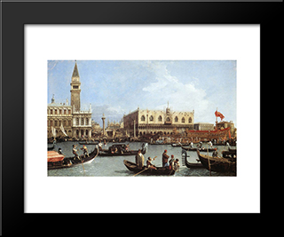 Return Of The Bucentaurn To The Molo On Ascension Day: Modern Black Framed Art Print by Canaletto