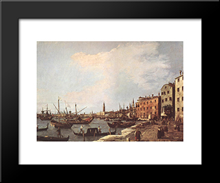 Riva Degli Schiavoni ' West Side: Modern Black Framed Art Print by Canaletto