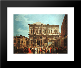 The Feast Day Of St Roch: Modern Black Framed Art Print by Canaletto