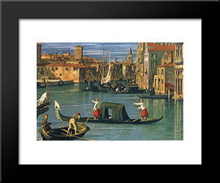 The Grand Canal At The Salute Church [Detail]: Modern Black Framed Art Print by Canaletto