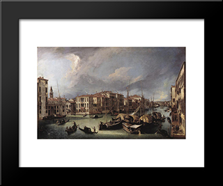 The Grand Canal With The Rialto Bridge In The Background: Modern Black Framed Art Print by Canaletto
