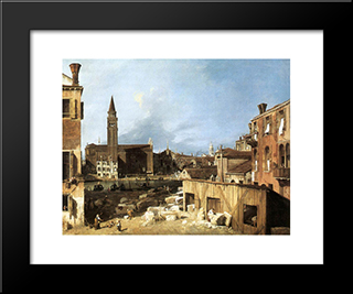 The Stonemason'S Yard: Modern Black Framed Art Print by Canaletto