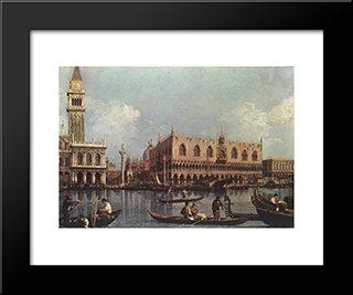 View Of The Bacino Di San Marco: Modern Black Framed Art Print by Canaletto