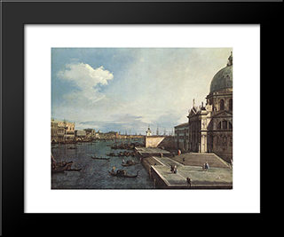 The Grand Canal At The Salute Church: Modern Black Framed Art Print by Canaletto