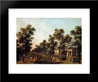 View Of The Grand Walk, Vauxhall Gardens, With The Orchestra Pavilion, The Organ House, The Turkish Dining Tent And The Statue Of Aurora: Modern Black Framed Art Print by Canaletto