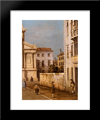 S. Francesco Della Vigna: Church And Campo: Modern Black Framed Art Print by Canaletto