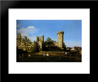 The Eastern Facade Of Warwick Castle: Modern Black Framed Art Print by Canaletto