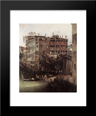 The Rio Dei Mendicanti (Detail): Modern Black Framed Art Print by Canaletto